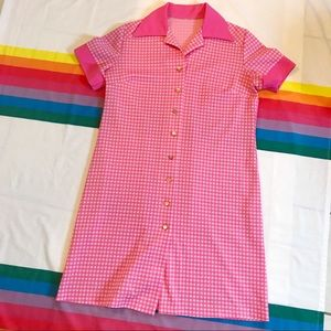 Vintage 70s Pink Checkered Gingham Dress Large